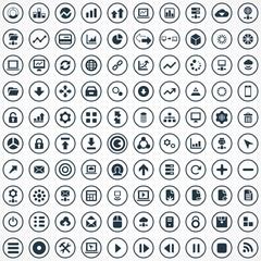 100 big data, database icons set.