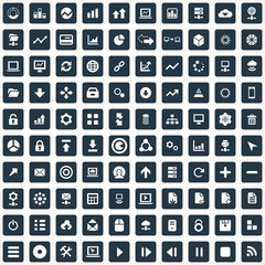 100 big data, database icons set.