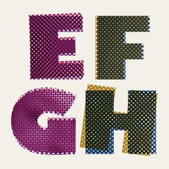 Halftone dots font, grunge color pixels print texture letters
