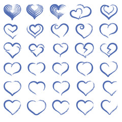 blue set of the Hand drawing hearts, vector