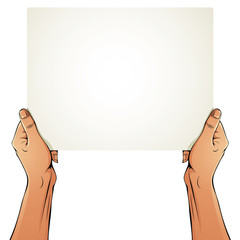 Female hands holding blank paper sheet.