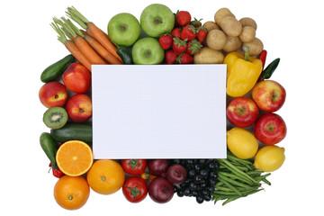 Notizblock mit Obst und Gemüse und Textfreiraum