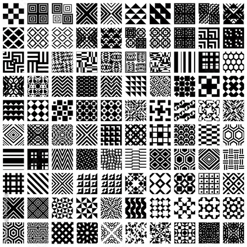 Spoed canvasdoek 2cm dik Kunstmatig 100 geometric seamless patterns set.