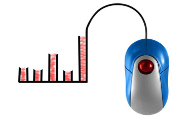 Bar Graph depicted by computer mouse cable