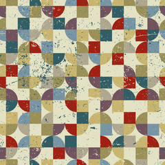 Vintage tiles with grunge texture seamless background, vector