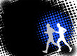 runners on the abstract halftone background - vector