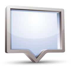 3d rectangular rounded empty speech bubble.