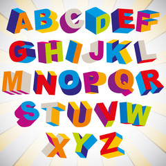 3D font, bold psychedelic colorful alphabet.