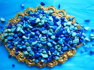 Fancy Gold Frame with Blue Pebbles
