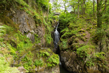 Aira Force waterfall Ullswater Valley Lake District England UK