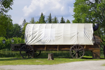 large retro covered wagon