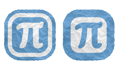 two frames with texture crumpled paper and pi symbol