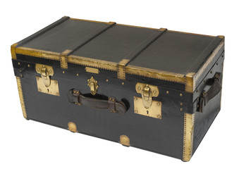 Antique steamer trunk in wood and brass, isolated