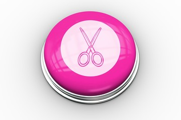 Scissors graphic on pink button