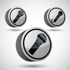 Microphone icon isolated, 3d music theme.