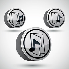 Microphone icon isolated, 3d music theme vector.