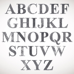 Hand drawn and sketched classic font.