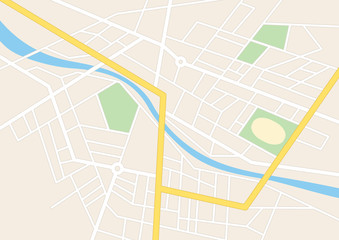 town streets with a stadium on the plan - vector