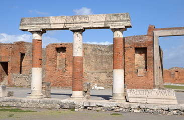 Eumachia's Building portico on the Forum in Pompeii