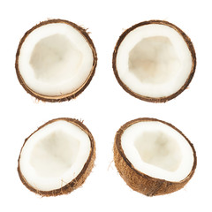 Coconut fruit cut in half