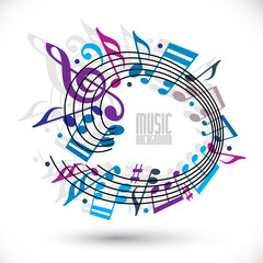 Blue and violet music background with notes.