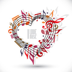 I love music, heart made with musical notes.