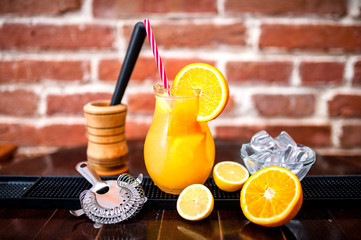 orange lemonade as fresh summer drink, nonalcoholic refreshment