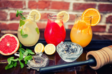 Mint, orange and grapfruit lemonades served at restaurant or bar