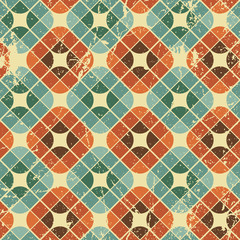 Vintage tiles with grunge texture seamless pattern.