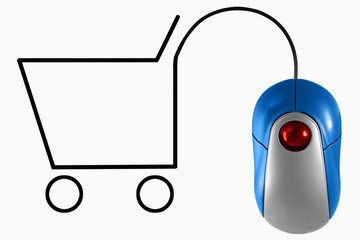 Shopping cart depicted by computer mouse cable