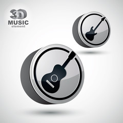 Guitar and electric guitar music icons isolated.