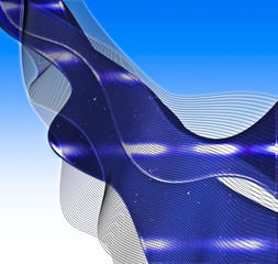 Iridescent flowing abstract in blue