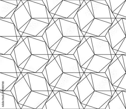 Black and white geometric seamless pattern with line and hexagon - 68080768
