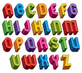 3d font, vector colorful letters.