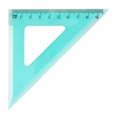 Green plastic triangle centimeter ruler