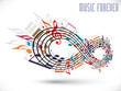 Forever music concept, infinity symbol made with musical notes a