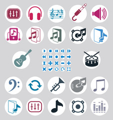 Music icons set, simple single color vector icons set