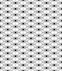 Black and white geometric seamless pattern with line and round c