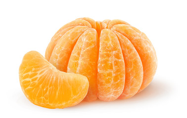 Peeled tangerine isolated on white