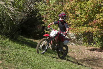 Child on dirt bike