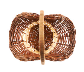 Brown wicker basket isolated
