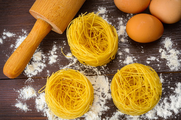 Homemade Italian pasta, eggs and flour