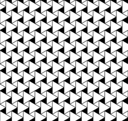 Black and white geometric seamless pattern with triangle.