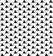 Black and white geometric seamless pattern with zigzag line and