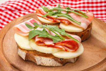 tasty bruschetta with bacon