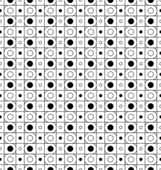 Black and white seamless pattern with line and circle.