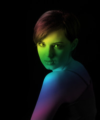 young woman with nice face on dark background
