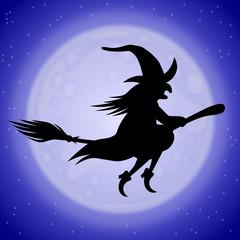 Hexenflug in einer blauen Mondnacht – Vektor
