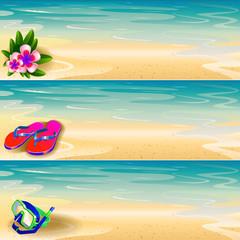 Flip-flop, floral, diving mask on the beach banner set