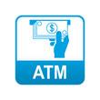 Etiqueta tipo app azul ATM